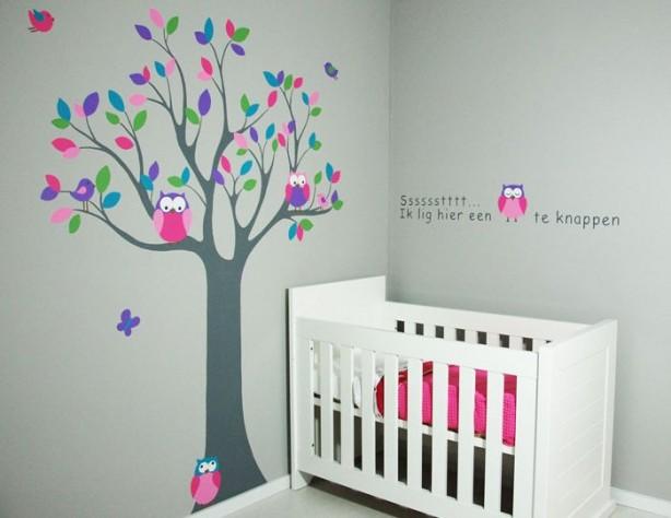 Houten letters en houten boom voor de kinderkamer - Schilderij slaapkamer meisje ...