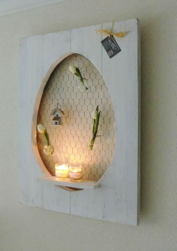 Paasdecoratie van oud hout gemaakte eieren - Decoratie en bois ...